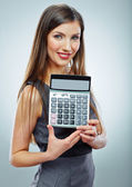 Business woman with calculator — Foto de Stock