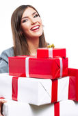 Business woman hold Gift boxes — Stock Photo
