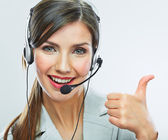 Customer support operator thumb show. — Stock Photo