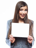 Business woman with blank paper — Stock Photo