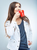 Woman with cup — Stock Photo