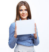 Business woman showing signboard — Stock Photo