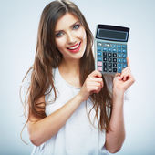 Vrouw met calculator — Stockfoto