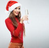 Vrouw in kerstman hoed — Stockfoto