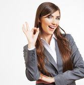 Business woman showing OK gesture — Stock Photo