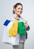 Business woman hold white shopping bag — Стоковое фото
