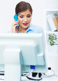 Business woman call center operator — Stock Photo