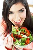 Young woman with vegetarian meal — Foto Stock