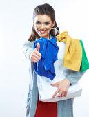 Woman hold shopping bag — Foto Stock