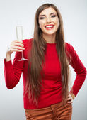 Young woman in red hold wine glass. — Stock Photo