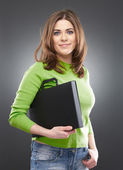 Female student with laptop case — Stock Photo