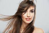 Woman face with hair motion — Stock Photo