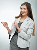 Smile Business woman with blank white banner — Stock Photo