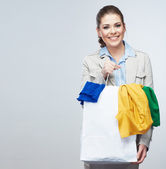 Smiling Business woman hold white shopping bag. — Stock Photo