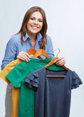 Woman with clothes — Stock Photo