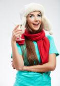 Mujer con vino — Foto de Stock