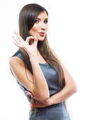 Business woman show ok sign — Stock Photo