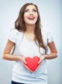 Woman hold heart — Stock Photo