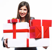 Business woman hold gift box — Stock Photo