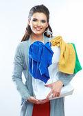 Woman with shopping bag — Stok fotoğraf