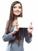 Geschäftsfrau mit blankopapier — Stockfoto