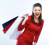 带购物袋的女人 — 图库照片
