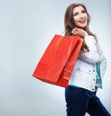 Woman hold shopping bag — Photo