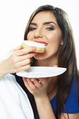 Woman eat donut — Stock Photo