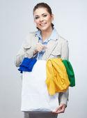 Mulher de negócios saco de compra da preensão. — Fotografia Stock