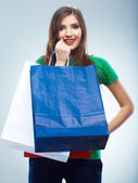 Donna stiva shopping bag. — Foto Stock