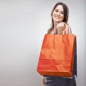 Woman hold shopping bag — Stok fotoğraf