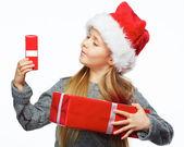 Girl hold gift box — Stock Photo