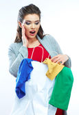 Woman hold shopping bag — Stock fotografie
