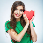 Woman hold heart — Stock Photo
