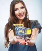 Woman hold shopping cart — Stock Photo