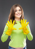 Woman with gloves — Stock Photo