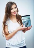 Woman hold calculator — Foto de Stock