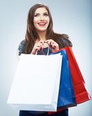 Woman hold shopping bag — Stockfoto