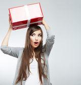 Woman hold gift box — Stock Photo