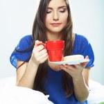Woman drink coffee — Stock Photo