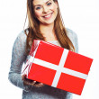 Woman hold gift box — Stock Photo #39148359