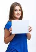 Woman hold blank card — Stock Photo