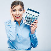 Business woman hold count machine. — Stock Photo