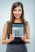 Woman hold calculator — Stock Photo