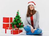 Woman in santa hat — Stock Photo