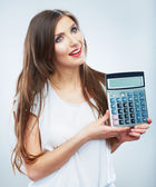 Woman hold count machine — Stock Photo