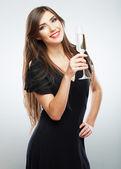 Beautiful model portrait isolated over studio background hold wi — Photo