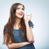 Woman hold cream — Stock fotografie