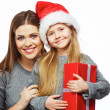 Daughter , mother Christmas portrait . — Stock Photo