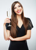 Young celebrating woman black dress . — Stock Photo